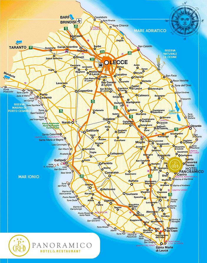Cartina Puglia Localita Turistiche.Cartina Geografica E Mappa Del Salento Come Arrivare E Muoversi